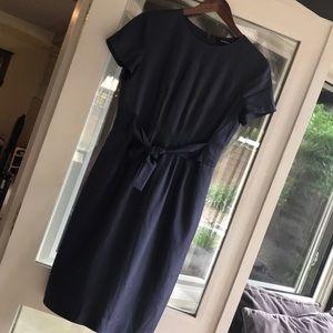 Ellen Tracy blue gray silk dress